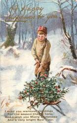 A HAPPY CHRISTMAS TO YOU  boy pulls sled loaded with holly