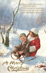 A MERRY CHRISTMAS  boy & girl on sled move front left
