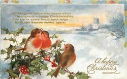 A HAPPY CHRISTMAS  three robins left on holly