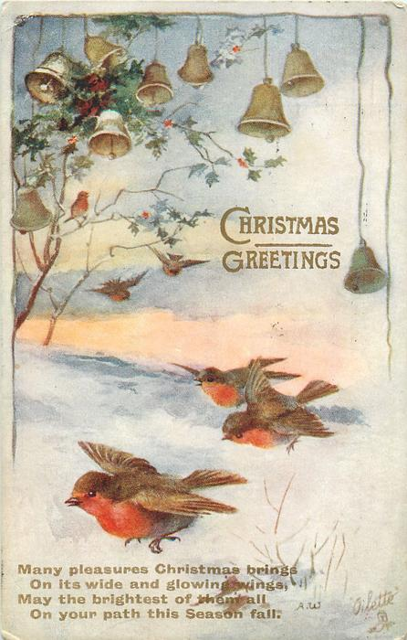 CHRISTMAS GREETINGS  six robins flying, bells above