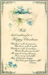 WITH BEST WISHES FOR A HAPPY CHRISTMAS clasped hands, forget-me-nots