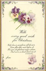 WITH EVERY GOOD WISH FOR CHRISTMAS  pansies