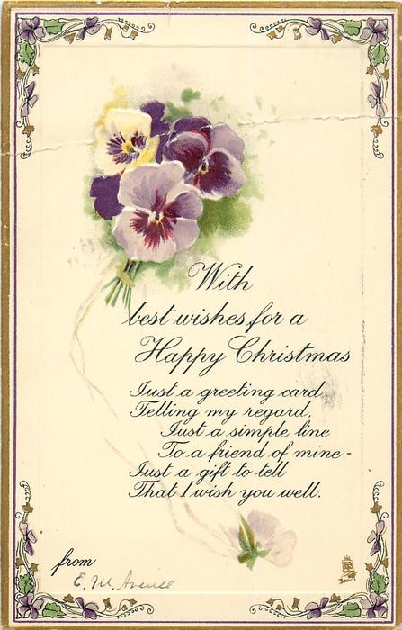 WITH BEST WISHES FOR A HAPPY CHRISTMAS  pansies