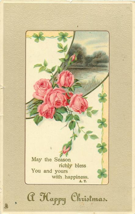 A HAPPY CHRISTMAS  pink roses, rural inset