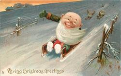 LOVING CHRISTMAS GREETINGS, dwarf toboggans down hill, two others follow