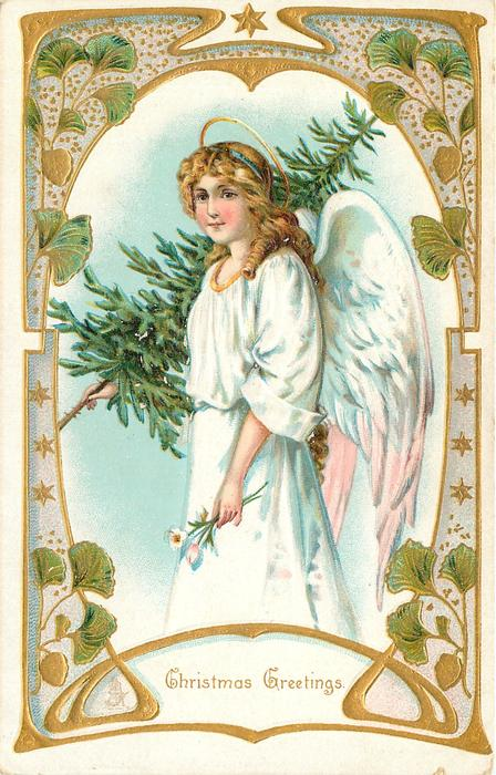CHRISTMAS GREETINGS  angel with tree, ornate border