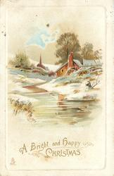 A BRIGHT AND HAPPY CHRISTMAS, water mill to right of stream