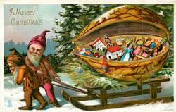 A MERRY CHRISTMAS  two dwarves pull sled, carrying walnut containing toys