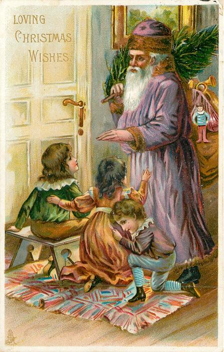 LOVING CHRISTMAS WISHES  Santa in mauve robe, and three children