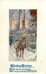 CHRISTMAS GREETINGS  boy drives donkey front