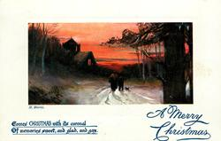 A MERRY CHRISTMAS  woman, boy & dog move away down snowy road towards lighted church behind left