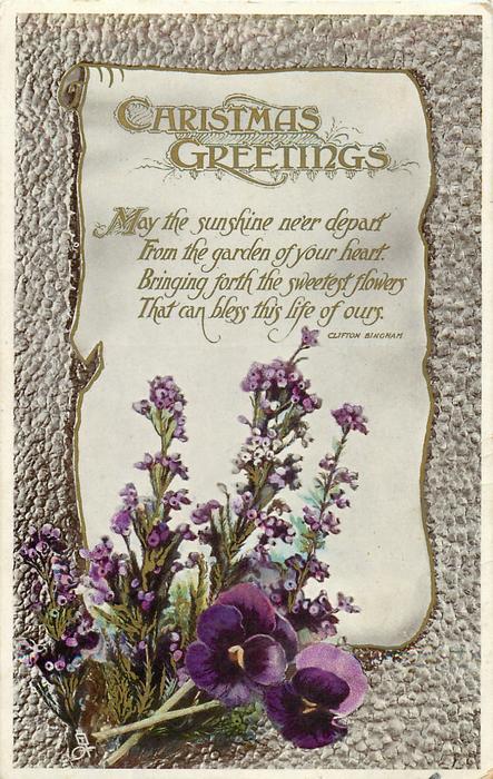 CHRISTMAS GREETINGS  pansies & heather