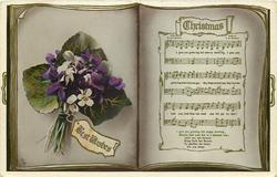 CHRISTMAS  christmas song, posy of violets with BEST WISHES label