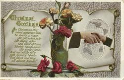 CHRISTMAS GREETINGS  roses in vase, hands across globes