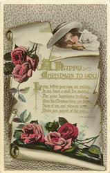 A HAPPY CHRISTMAS TO YOU  girl, scroll & roses
