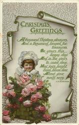 CHRISTMAS GREETINGS  girl, scroll & roses