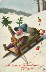 A MERRY CHRISTMAS TO YOU  Pine-Cone person sleds downhill in snow, loosing apples from sack