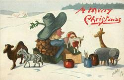 A MERRY CHRISTMAS  Pine-Cone person sits in snow painting toy animals