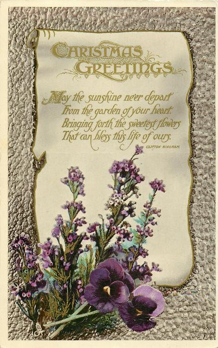 CHRISTMAS GREETINGS  pansies & heather