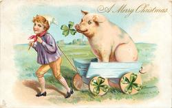 A MERRY CHRISTMAS  boy pulling large pig in cart