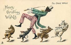 HEARTY CHRISTMAS WISHES, black huntsman w/ clown pants and four dogs cake walk left