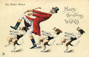 HEARTY CHRISTMAS WISHES  huntsman and three foxhounds cake walk left