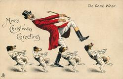 MERRY CHRISTMAS GREETING  huntsman and four foxhounds cake walk right