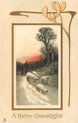 A HAPPY CHRISTMAS  four sheep precede mother and child coming forward along snowy path