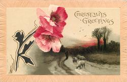 CHRISTMAS GREETINGS  two carmine poppies trimmed in black and gilt to left, man follows four sheep