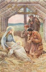 A JOYFUL CHRISTMAS  three shepherds adoring Jesus