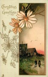 CHRISTMAS GREETINGS, single oblong inset, daisies left, two people walk forward church behind