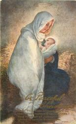 A PEACEFUL CHRISTMAS  Mary & Jesus in stable, straw behind