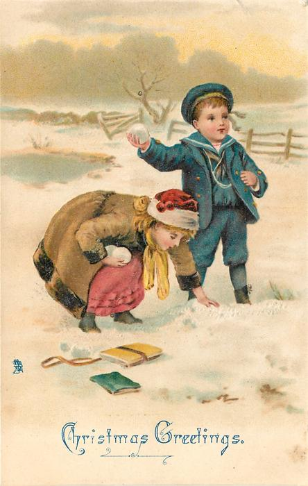 CHRISTMAS GREETINGS  boy & girl snowballing