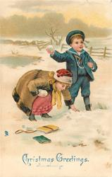CHRISTMAS GREETINGS  boy & girl snowballing