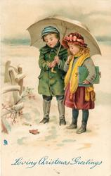 LOVING CHRISTMAS GREETINGS, boy and girl under umbrella looking down at dead robin