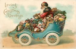 LOVING CHRISTMAS GREETINGS  red coated Santa driving car full of toys left