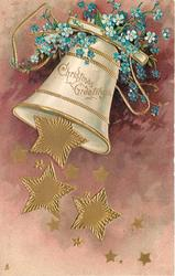 CHRISTMAS GREETINGS  many gilt stars falling from bell swinging left, blue forget-me-nots above, purple background