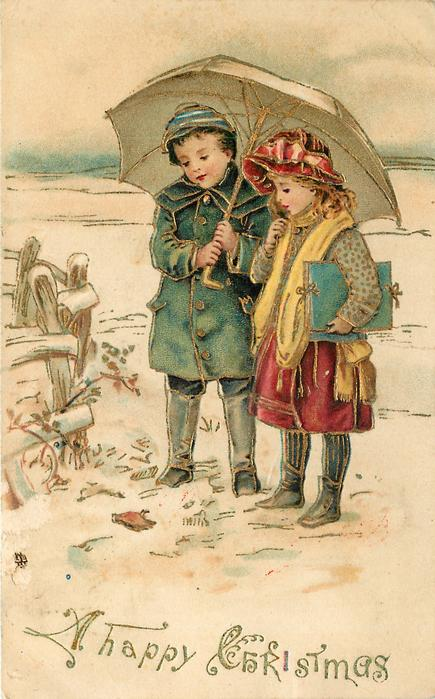 A HAPPY CHRISTMAS (2 styles)  boy and girl under umbrella look down at dead robin