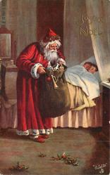 Santa looks into sack, two children asleep in bed