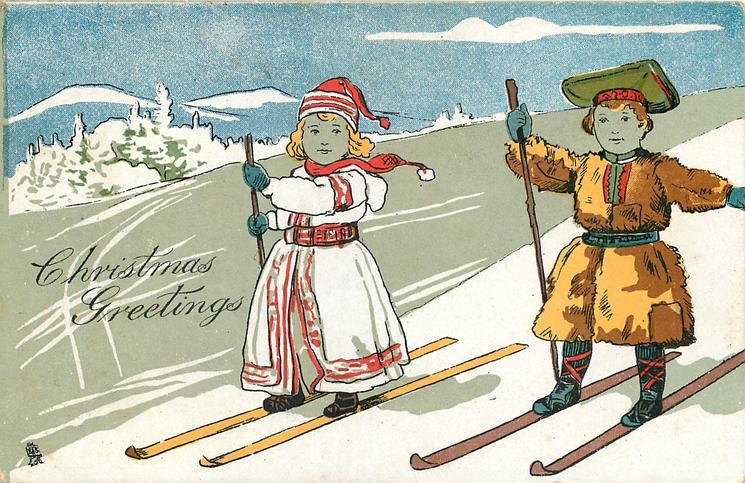 CHRISTMAS GREETINGS  two children on ski downhill