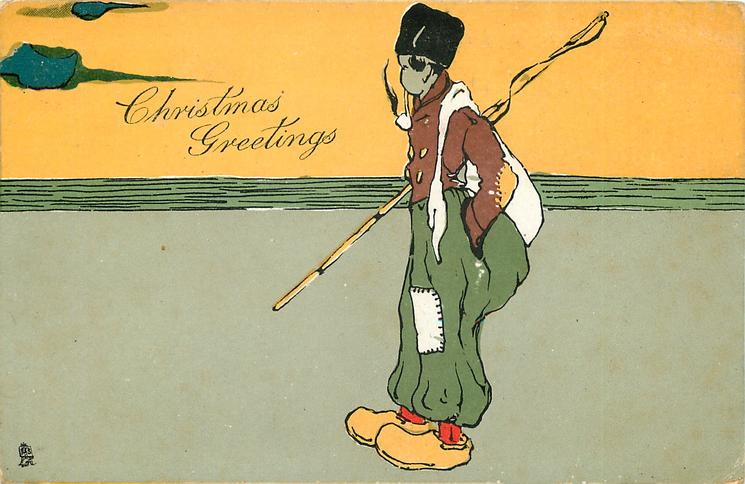 CHRISTMAS GREETINGS  fisherman standing facing left, smoking pipe, in yellow clogs