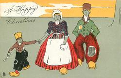 A HAPPY CHRISTMAS  man, woman & boy holding spoon walk front
