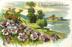 A HAPPY CHRISTMAS TO YOU  rural sea-side, pansies