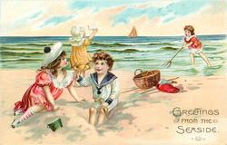boy and girl left digging in sand with pail in front, girl behind waves hanky, boy to right shrimps