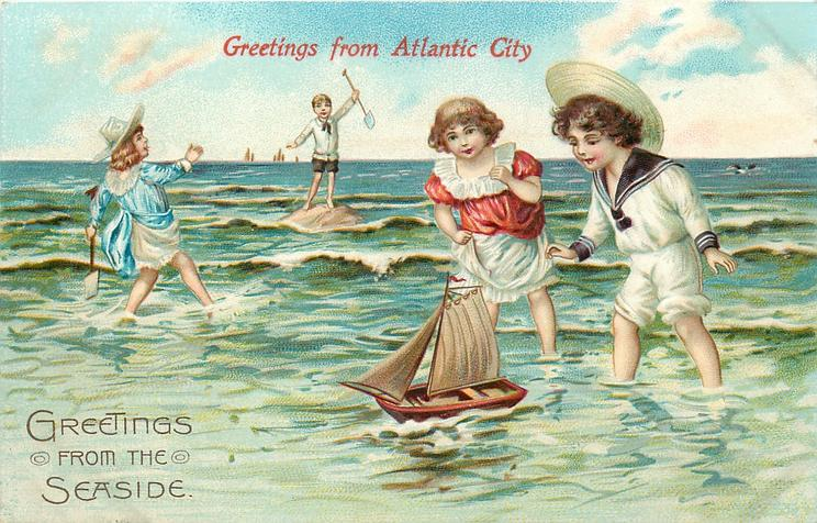 four children in water, two at left have shovels in hand, two at right sail boat