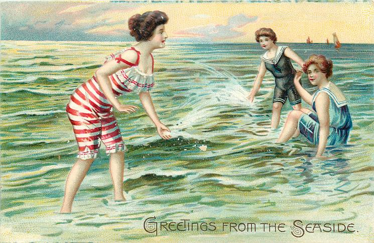 one woman with red and white striped bathing-suit splashes two others