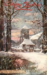 WINTER'S HAND SPREADS WIDE HER HOARY MANTLE O'ER THE LAND  snow scene, church & trees