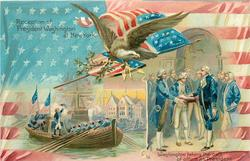 RECEPTION OF PRESIDENT WASHINGTON AT NEW YORK.  WASHINGTON TAKING//OF OFFICE AS PRESIDENT.
