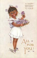 A HAPPY BIRTHDAY TO YOU  black girl with basket of pansies