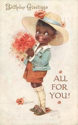 BIRTHDAY GREETINGS, black boy with bunch of poppies